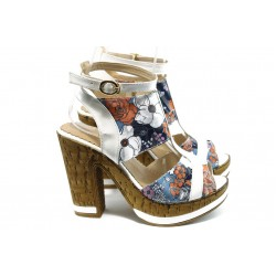 Дамски сандали на висок ток МИ 4208 бяла