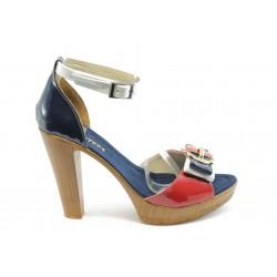 Дамски сандали на висок ток МИ 22-161 червено-сини