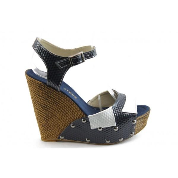 Дамски сандали на висока платформа МИ 50-1949 сини