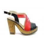 Дамски сандали на висок ток МИ 4203 черно-червени