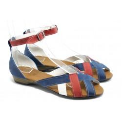 Равни дамски сандали цветни МИ 211 синя