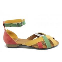 Равни дамски сандали цветни МИ 211 червено-зелени