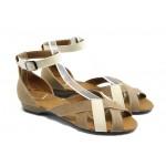 Равни дамски сандали цветни МИ 211 бежова