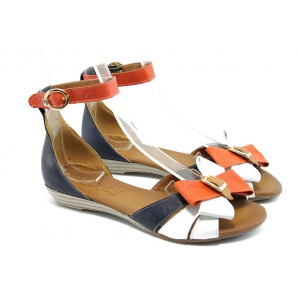Дамски равни сандали с панделка МИ 309 синьо-червени