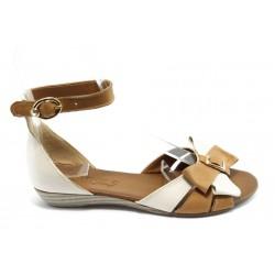 Дамски равни сандали с панделка МИ 309 бежови