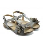 Дамски анатомични сандали ИО 1392 сиво цвете