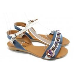 Дамски равни сандали цветни МИ 1 синя сандала