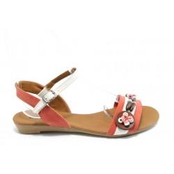 Дамски равни сандали цветни МИ 01 червена сандала