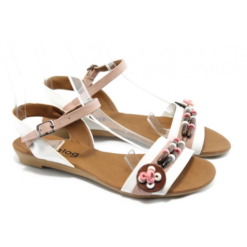 94e9ee59890 Дамски равни сандали цветни МИ 1 бяла сандала