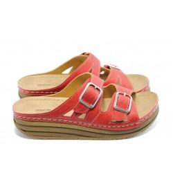 Дамски анатомични чехли на платформа Jump 5042 червени