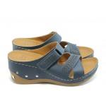 Дамски анатомични чехли на платформа Jump 5077 сини