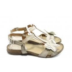 Дамски анатомични сандали ИО 1392 бежова пеперуда