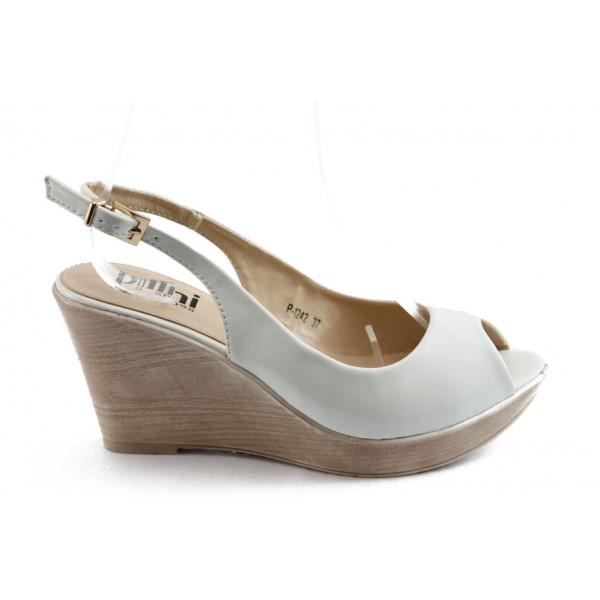 Дамски сандали на платформа ПИ 1242 бели