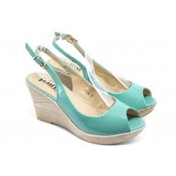Дамски сандали на платформа ПИ 1242 зелени