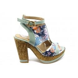 Дамски сандали на висок ток МИ 4208 сини