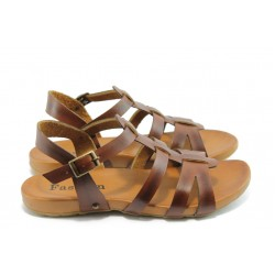 Дамски анатомични сандали от естествена кожа МИ 751 кафе