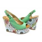 Дамски сандали на висока платформа ПИ 1210 зелени