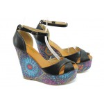 Дамски сандали на висока платформа ПИ 1209 черни
