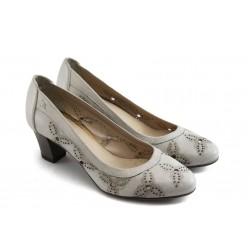 Дамски обувки на среден ток ГО 0345 св.сиви