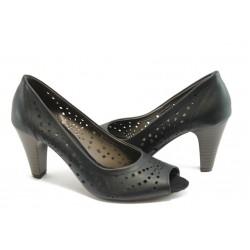 Дамски обувки с перфорация ГО 04-romana черни