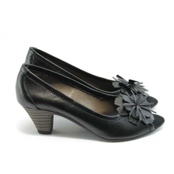 Дамски обувки на среден ток ГО 0323А-12723 черни