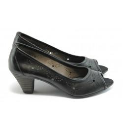 Дамски обувки с отворен пръст ГО 0323С-12723 черни