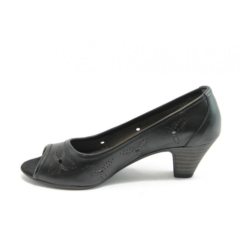 4d5f6d751f3 Дамски обувки с отворен пръст ГО 0323С-12723 черни