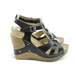 Дамски анатомични сандали на платформа Jump 5108 черни