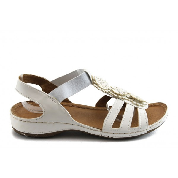 Дамски анатомични сандали с ластик Jump 5082 бели