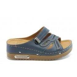 Дамски анатомични чехли на платформа Jump 5149 сини
