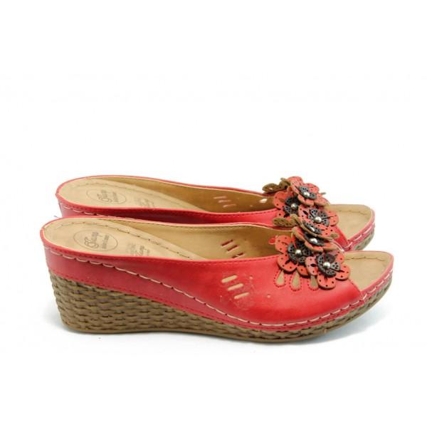 Дамски анатомични чехли на платформа Jump 5229 червени