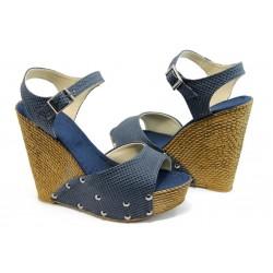 Дамски сандали на висока платформа МИ 150-1949 сини