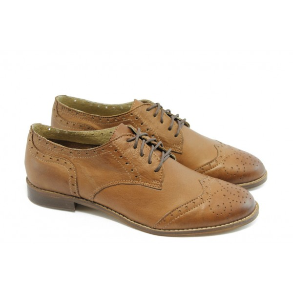 Дамски обувки на нисък ток ГО FLAVIA 06 карамел
