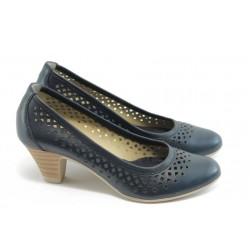 Дамски обувки на среден ток с перфорация ГО 0322-12723 сини
