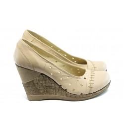 Дамски анатомични обувки с перфорация НЛ 140-14287 бежово