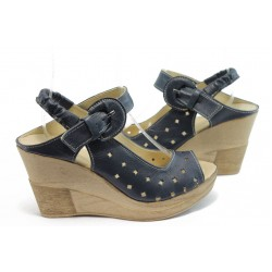 Дамски анатомични сандали на платформа НЛ 142-14287 сини