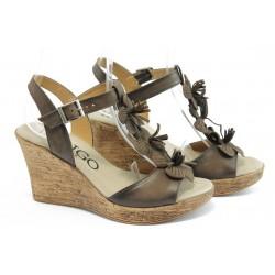 Дамски анатомични сандали на платформа ИО 1483 кафяви