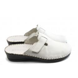 Български анатомични чехли естествена кожа КП 6884 Бял
