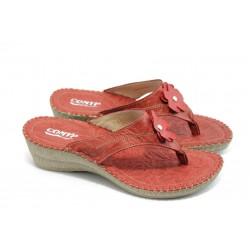 Български анатомични чехли естествена кожа КП 7482 червени