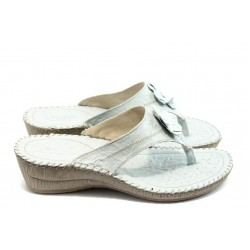 Български анатомични чехли естествена кожа КП 7482 бели