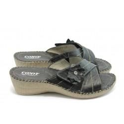 Български анатомични чехли естествена кожа КП 8489 черно