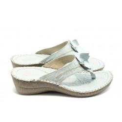Български анатомични чехли естествена кожа КП 8488 бели