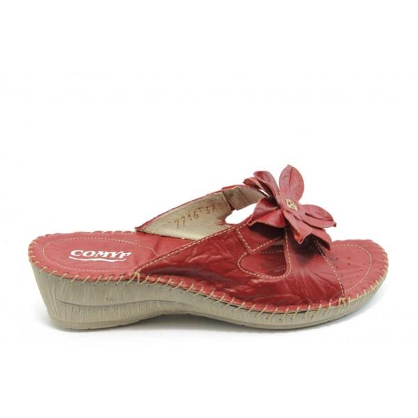 Български дамски анатомични чехли от естествена кожа КП 7716 червени