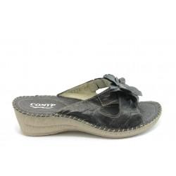 Български дамски анатомични чехли от естествена кожа КП 7716 черни