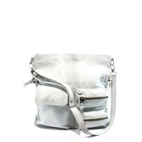 Дамска чанта от естествена кожа ИО 3 бяла с опушен ефект