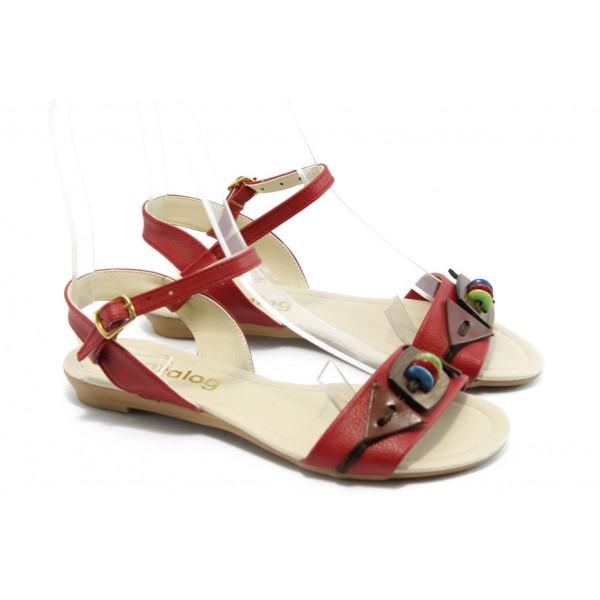 Дамски равни сандали МИ 03 червени