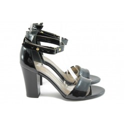 Дамски сандали на висок ток МИ 143 черен лак