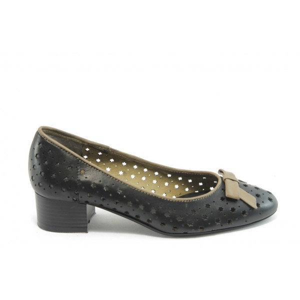 Дамски обувки на среден ток ГО 0412-7137 черни