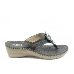 Български анатомични чехли естествена кожа КП 8488 черни