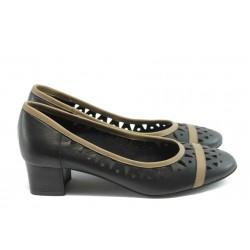 Дамски обувки на нисък ток ГО 0417-1 черни